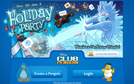 New Club Penguin Log in and Log out Screens   Holiday Party 2012