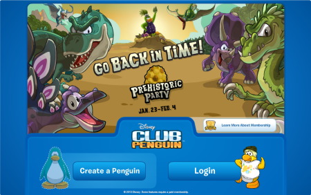 club penguin login screen prehistoric party 2014