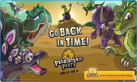 club penguin logout screen prehistoric party 2014