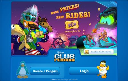 club penguin login screen fair party 2014